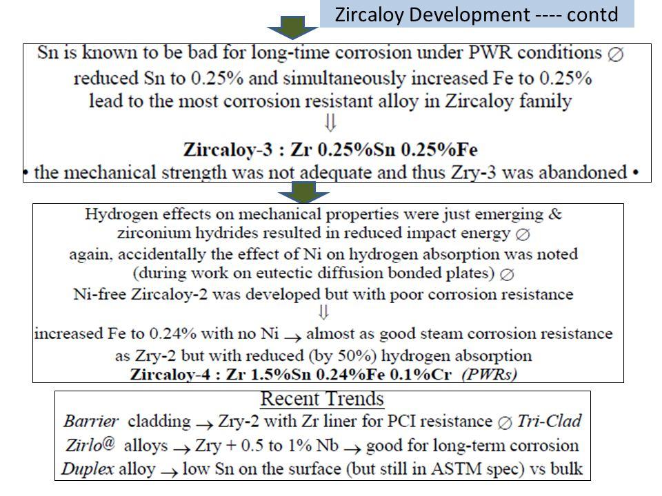 Zircaloy Development ---- contd