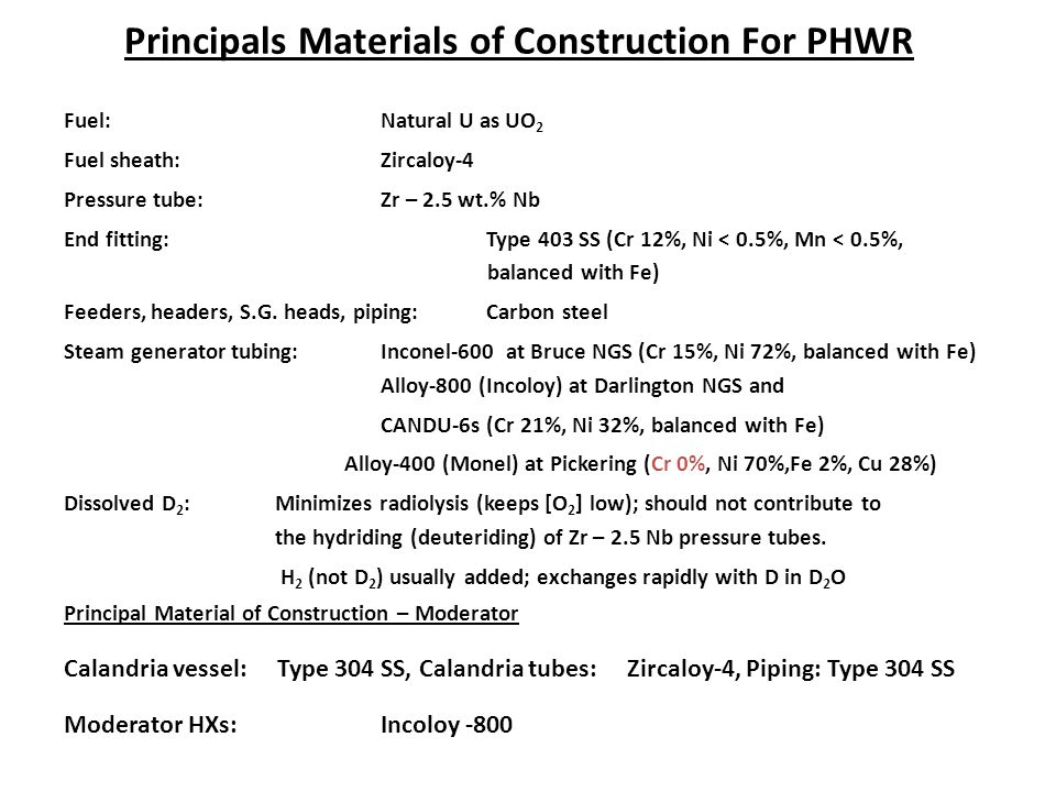Principals Materials of Construction For PHWR Fuel: Natural U as UO 2 Fuel sheath: Zircaloy-4 Pressure tube:Zr – 2.5 wt.% Nb End fitting:Type 403 SS (