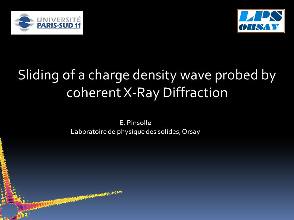 Sliding of a charge density wave probed by coherent X-Ray Diffraction E.