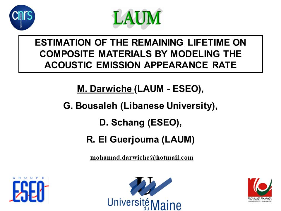 ESTIMATION OF THE REMAINING LIFETIME ON COMPOSITE MATERIALS BY MODELING THE ACOUSTIC EMISSION APPEARANCE RATE M.