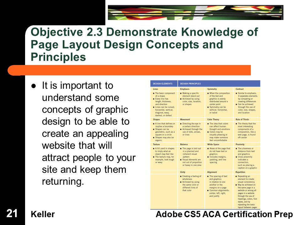 Dreamweaver Domain 3 KellerAdobe CS5 ACA Certification Prep Dreamweaver Domain 2 KellerAdobe CS5 ACA Certification Prep Objective 2.3 Demonstrate Knowledge of Page Layout Design Concepts and Principles It is important to understand some concepts of graphic design to be able to create an appealing website that will attract people to your site and keep them returning.