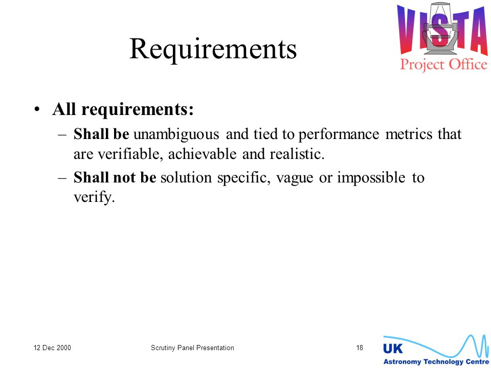 Requirements All requirements: –Shall be unambiguous and tied to performance metrics that are verifiable, achievable and realistic.