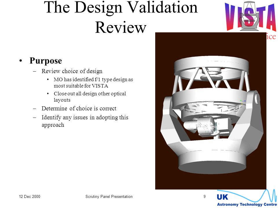 12 Dec 2000Scrutiny Panel Presentation 9 The Design Validation Review Purpose –Review choice of design MO has identified f/1 type design as most suitable for VISTA Close out all design other optical layouts –Determine of choice is correct –Identify any issues in adopting this approach