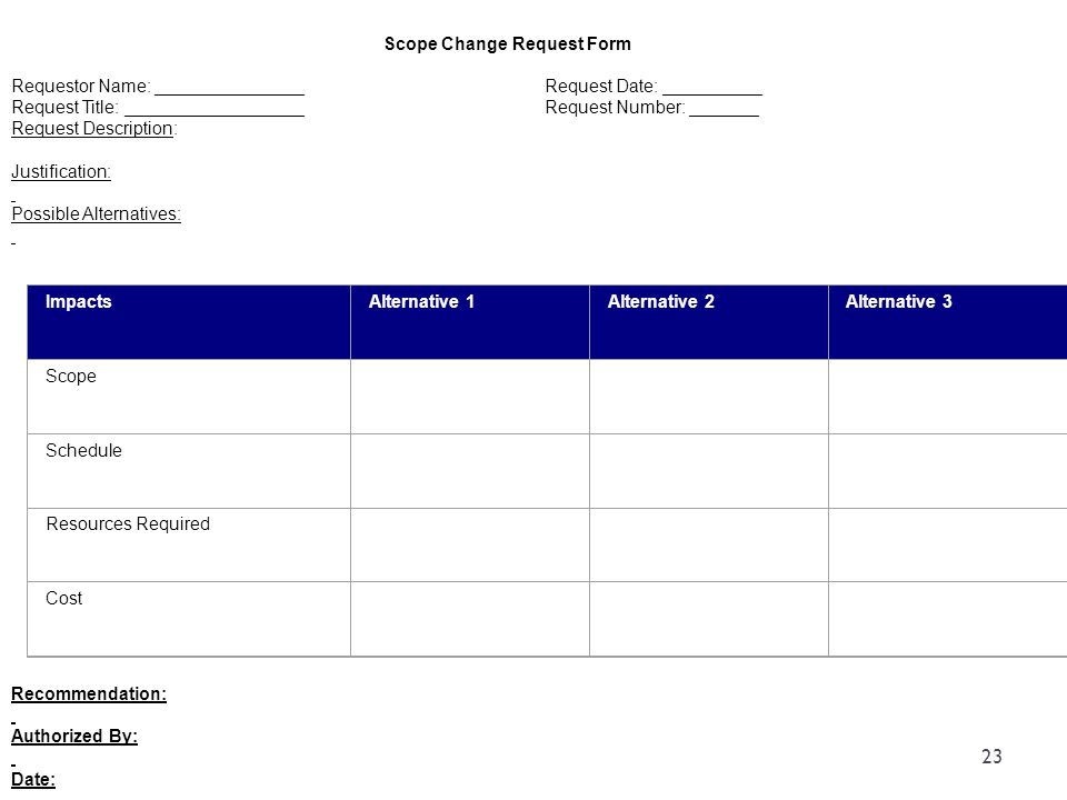 Scope Change Request Form Requestor Name: _______________Request Date: __________ Request Title: __________________Request Number: _______ Request Des