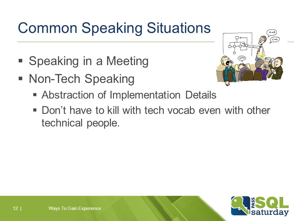 Common Speaking Situations  Speaking in a Meeting  Non-Tech Speaking  Abstraction of Implementation Details  Don't have to kill with tech vocab even with other technical people.