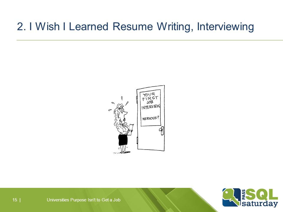 2. I Wish I Learned Resume Writing, Interviewing Universities Purpose Isn't to Get a Job15 |