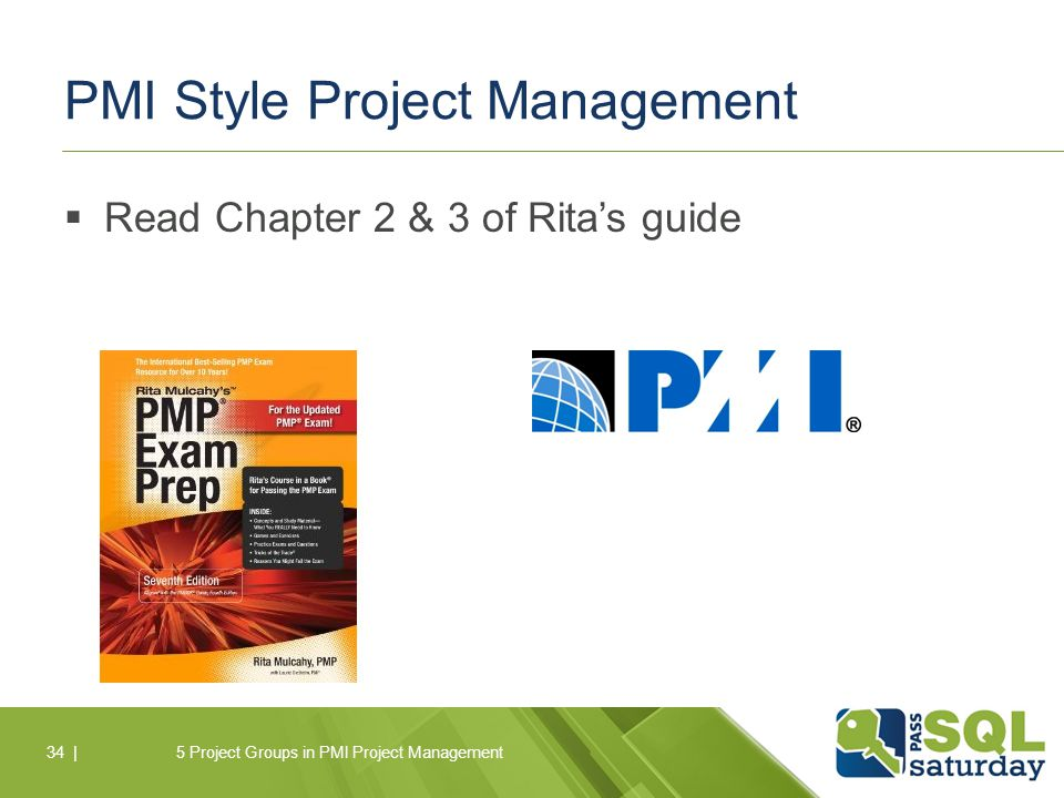 PMI Style Project Management  Read Chapter 2 & 3 of Rita's guide 5 Project Groups in PMI Project Management34 |
