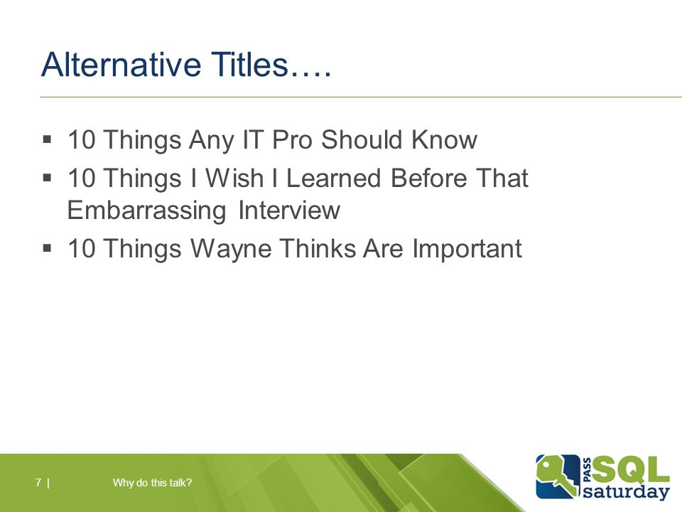 Alternative Titles….