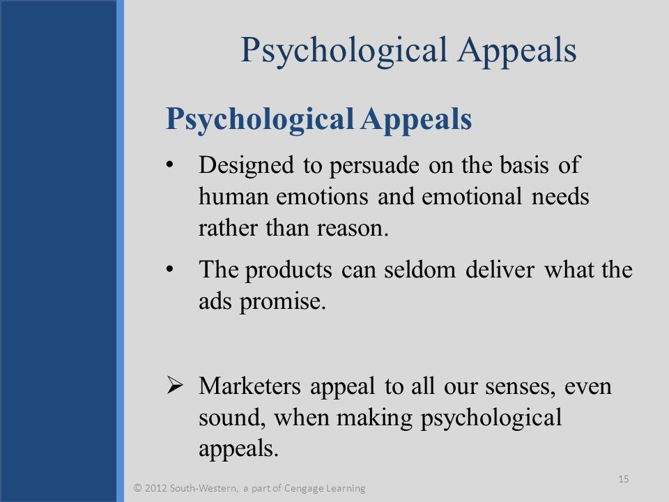 Psychological Appeals Designed to persuade on the basis of human emotions and emotional needs rather than reason.