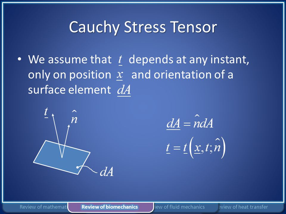 Cauchy Stress Tensor We assume that depends at any instant, only on position and orientation of a surface element Review of heat transferReview of flu
