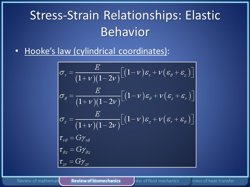 Stress-Strain Relationships: Elastic Behavior Hooke's law (cylindrical coordinates): Review of heat transferReview of fluid mechanicsReview of mathema