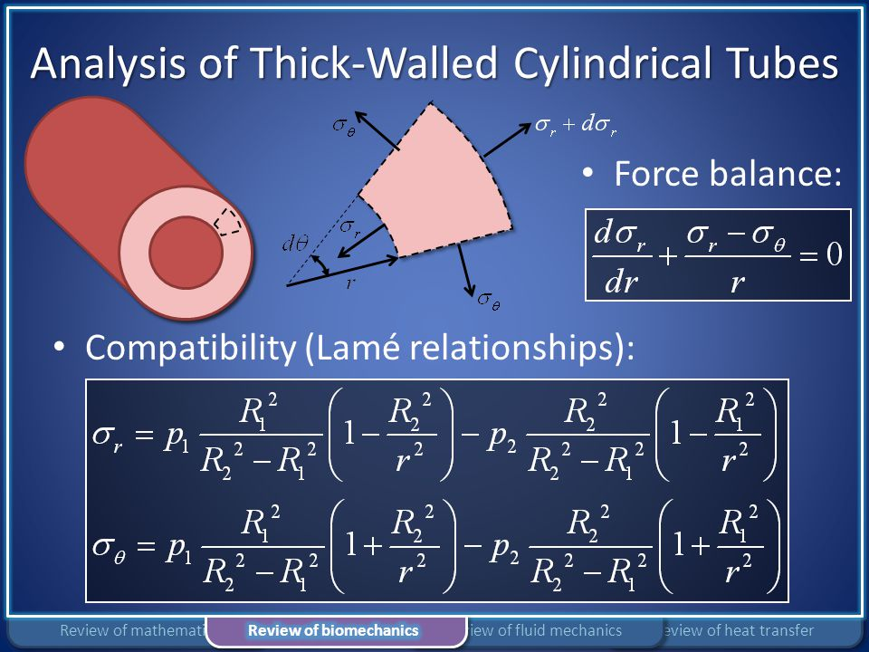 Analysis of Thick-Walled Cylindrical Tubes Compatibility (Lamé relationships): Force balance: Review of heat transferReview of fluid mechanicsReview o