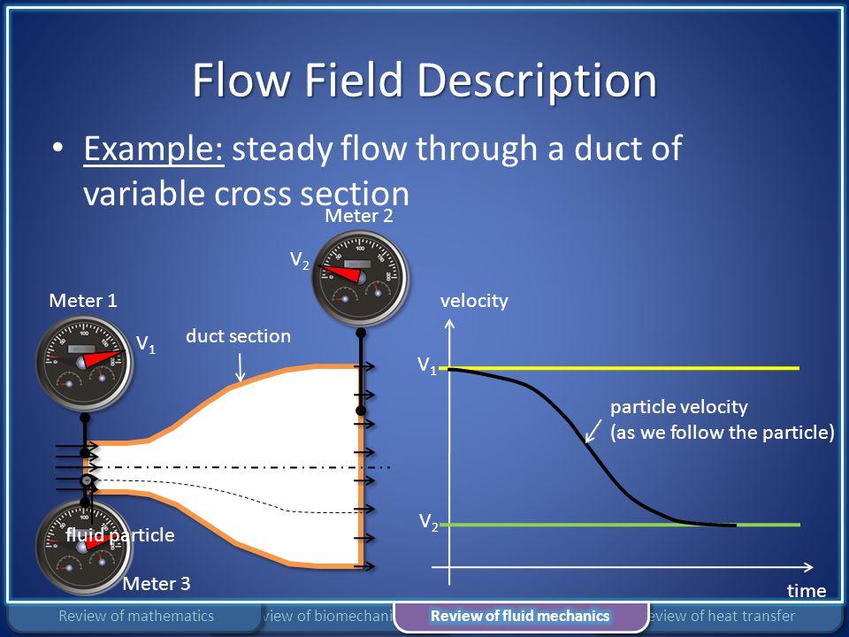 Flow Field Description Example: steady flow through a duct of variable cross section V1V1 V2V2 velocity time V1V1 V2V2 duct section Meter 3 fluid part