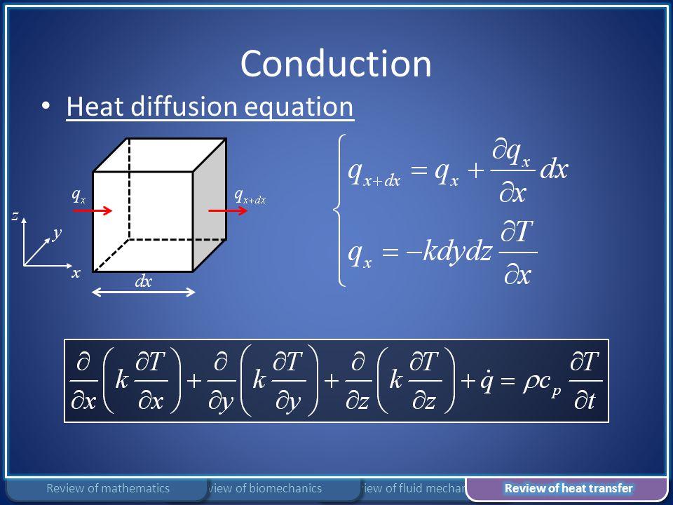 Conduction Review of fluid mechanicsReview of biomechanicsReview of mathematics Heat diffusion equation
