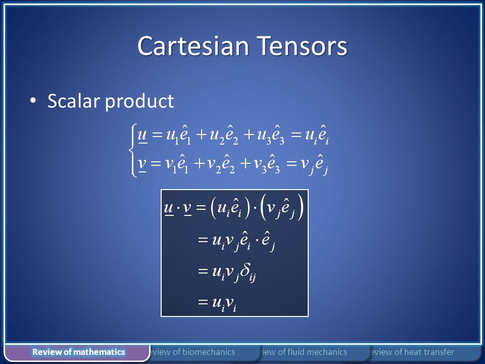 Cartesian Tensors Scalar product Review of heat transferReview of fluid mechanicsReview of biomechanics