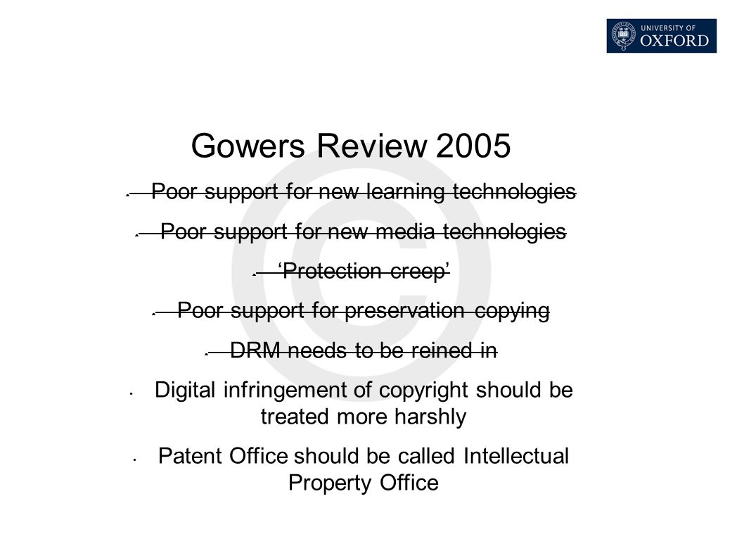 Gowers Review 2005 Poor support for new learning technologies Poor support for new media technologies 'Protection creep' Poor support for preservation