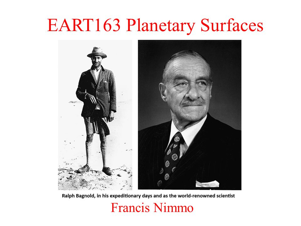 EART163 Planetary Surfaces Francis Nimmo