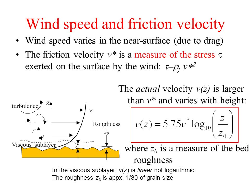 Wind speed and friction velocity Wind speed varies in the near-surface (due to drag) The friction velocity v* is a measure of the stress  exerted on