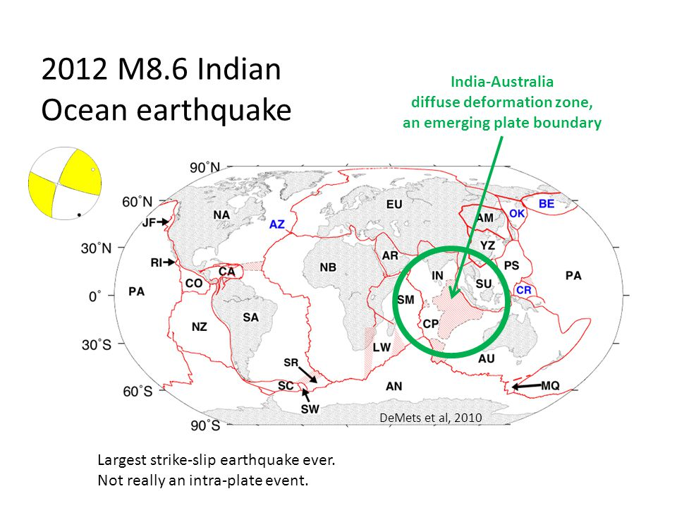 2012 M8.6 Indian Ocean earthquake DeMets et al, 2010 India-Australia diffuse deformation zone, an emerging plate boundary Largest strike-slip earthquake ever.
