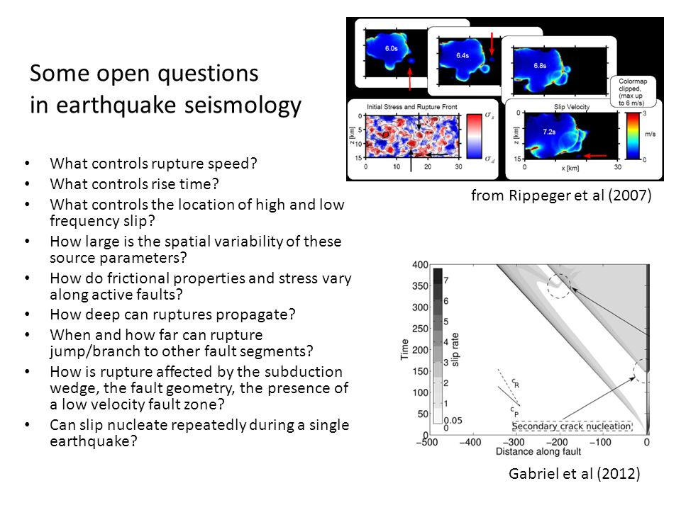 Some open questions in earthquake seismology What controls rupture speed.