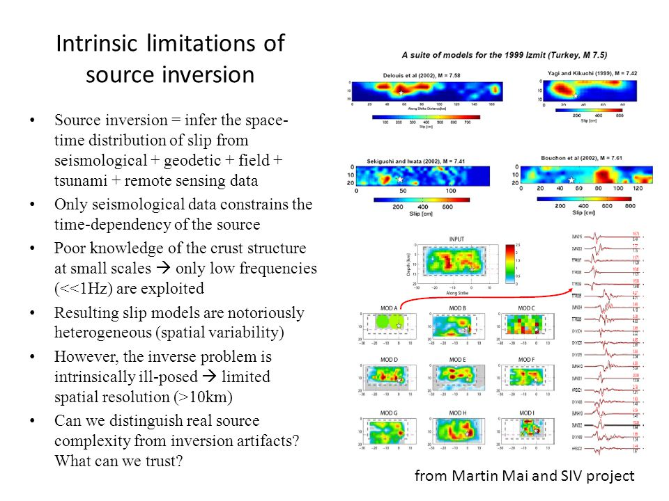 Intrinsic limitations of source inversion Source inversion = infer the space- time distribution of slip from seismological + geodetic + field + tsunami + remote sensing data Only seismological data constrains the time-dependency of the source Poor knowledge of the crust structure at small scales  only low frequencies (<<1Hz) are exploited Resulting slip models are notoriously heterogeneous (spatial variability) However, the inverse problem is intrinsically ill-posed  limited spatial resolution (>10km) Can we distinguish real source complexity from inversion artifacts.