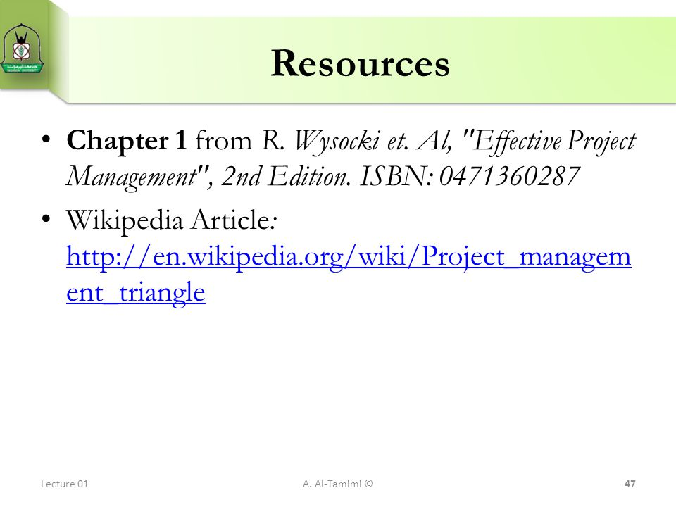 Resources Chapter 1 from R. Wysocki et. Al,