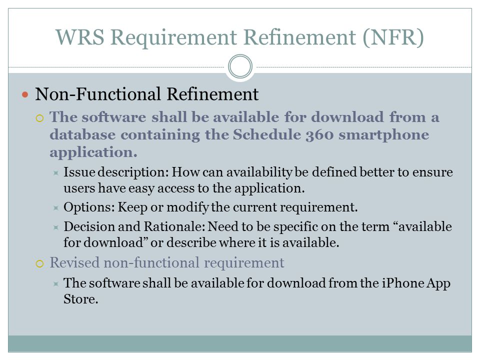 WRS Requirement Refinement (NFR) Non-Functional Refinement  The software shall be available for download from a database containing the Schedule 360 smartphone application.