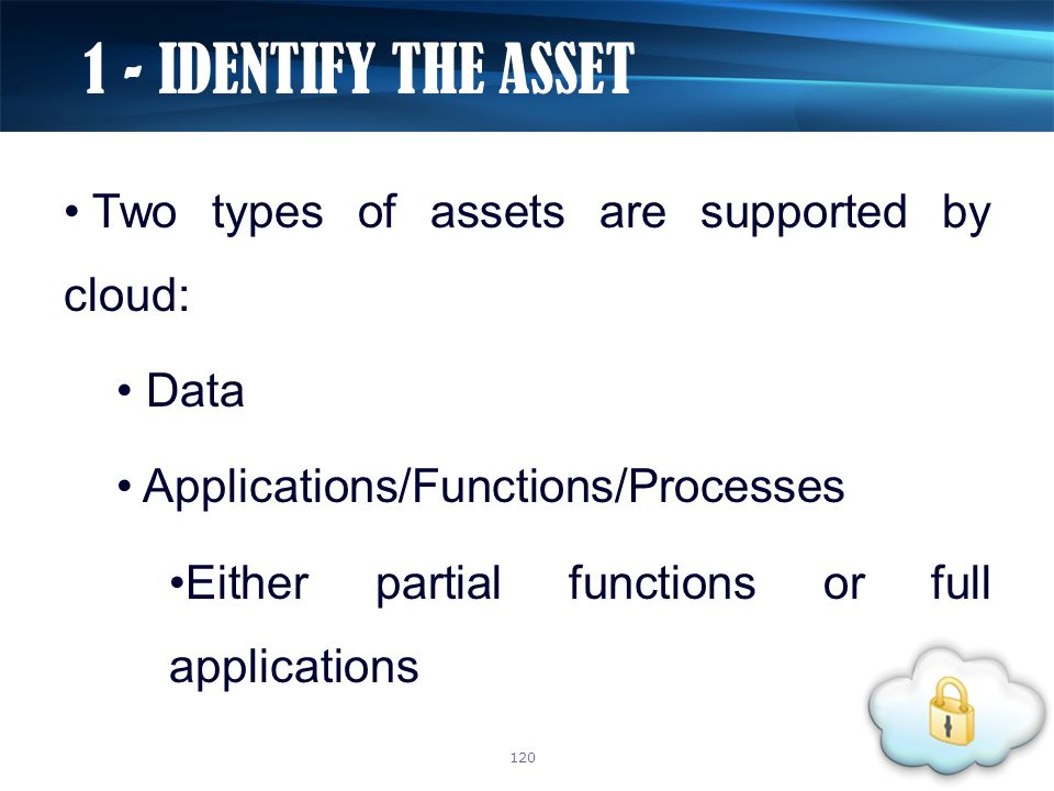 Two types of assets are supported by cloud: Data Applications/Functions/Processes Either partial functions or full applications 1 - IDENTIFY THE ASSET 120
