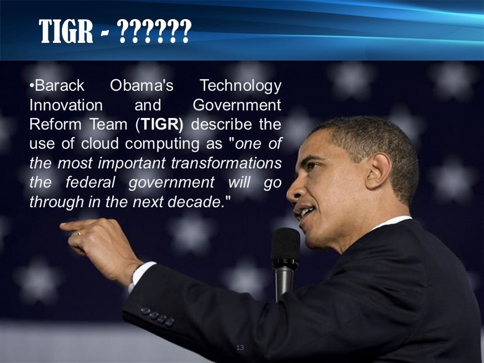 TIGR - ?????? Barack Obama's Technology Innovation and Government Reform Team (TIGR) describe the use of cloud computing as