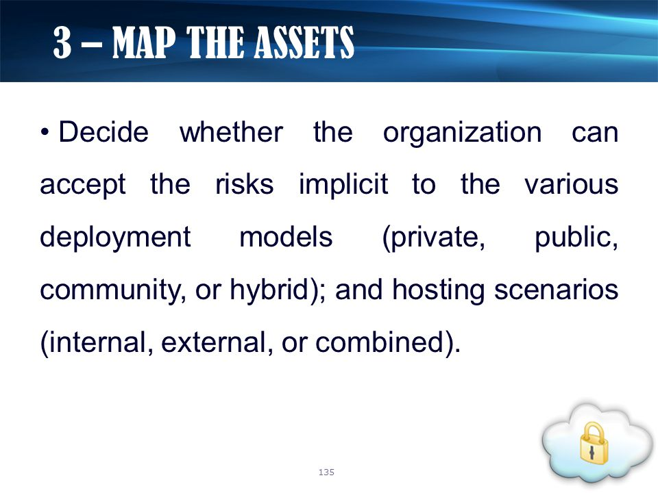 Decide whether the organization can accept the risks implicit to the various deployment models (private, public, community, or hybrid); and hosting sc