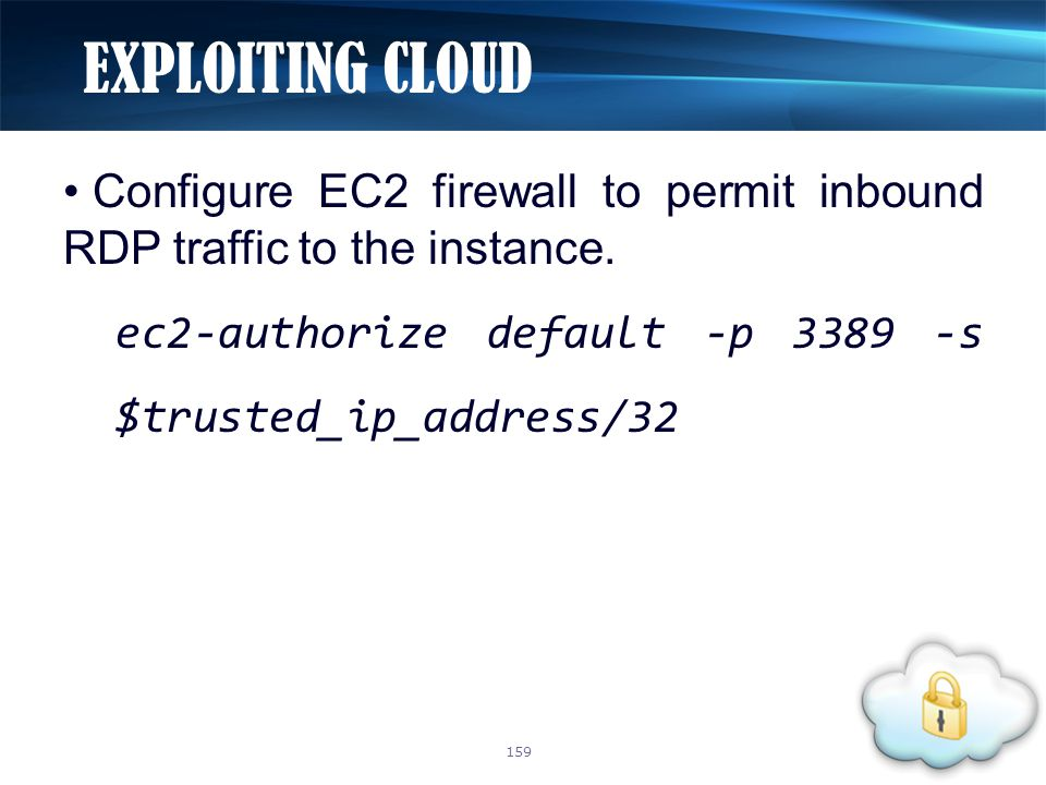Configure EC2 firewall to permit inbound RDP traffic to the instance.