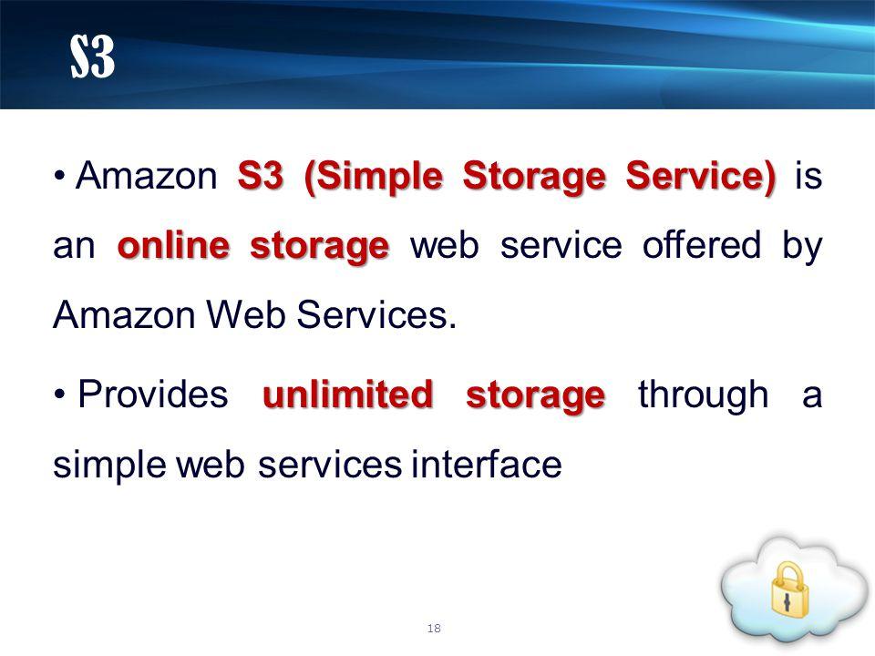 S3 (Simple Storage Service) online storage Amazon S3 (Simple Storage Service) is an online storage web service offered by Amazon Web Services. unlimit