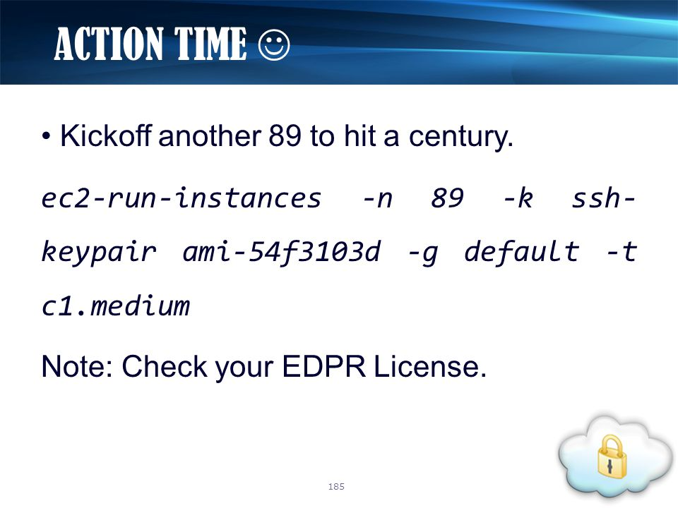 Kickoff another 89 to hit a century. ec2-run-instances -n 89 -k ssh- keypair ami-54f3103d -g default -t c1.medium Note: Check your EDPR License. ACTIO