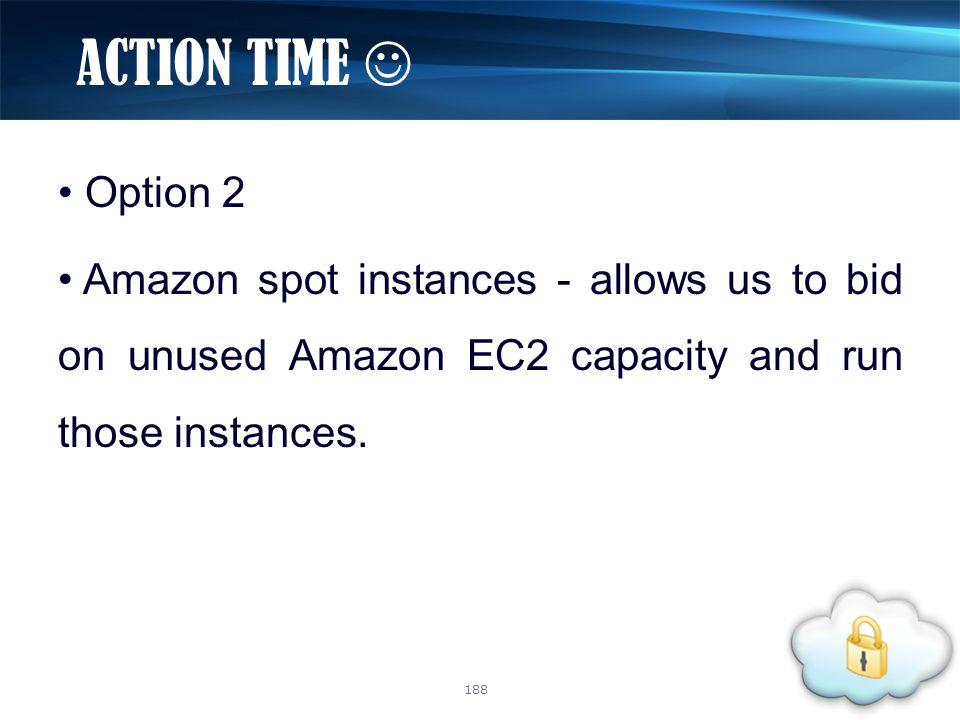 Option 2 Amazon spot instances - allows us to bid on unused Amazon EC2 capacity and run those instances. ACTION TIME 188