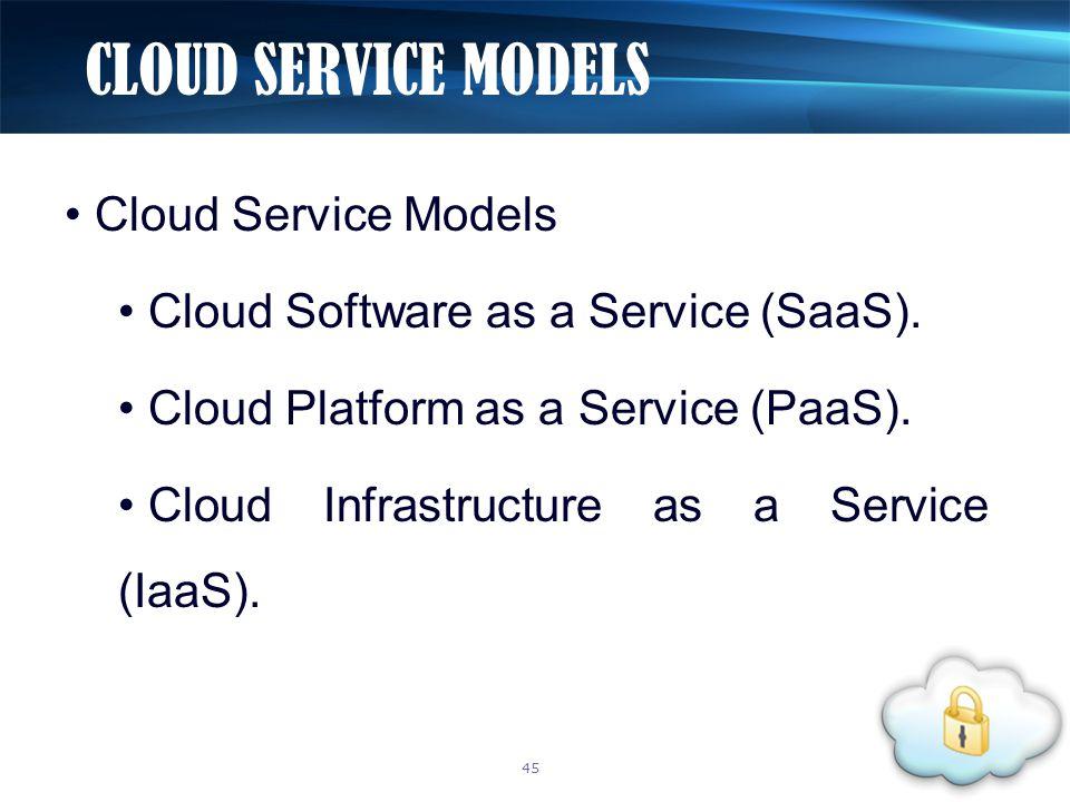 Cloud Service Models Cloud Software as a Service (SaaS). Cloud Platform as a Service (PaaS). Cloud Infrastructure as a Service (IaaS). CLOUD SERVICE M