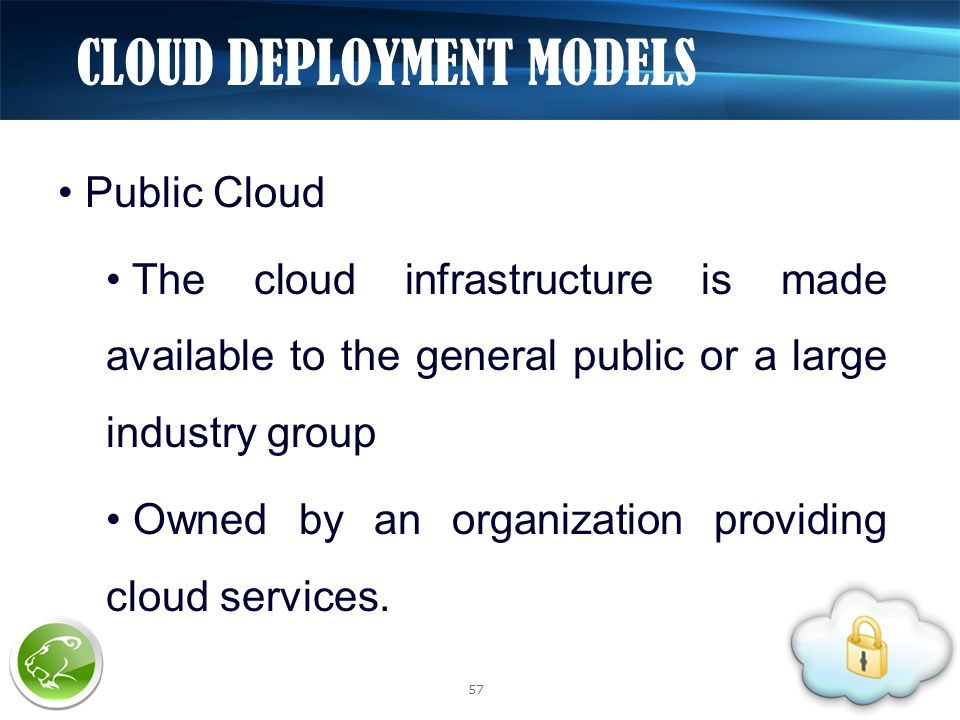 Public Cloud The cloud infrastructure is made available to the general public or a large industry group Owned by an organization providing cloud services.