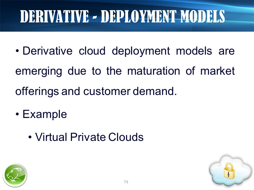 Derivative cloud deployment models are emerging due to the maturation of market offerings and customer demand. Example Virtual Private Clouds DERIVATI