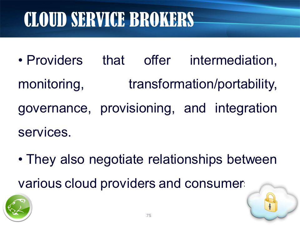 Providers that offer intermediation, monitoring, transformation/portability, governance, provisioning, and integration services.