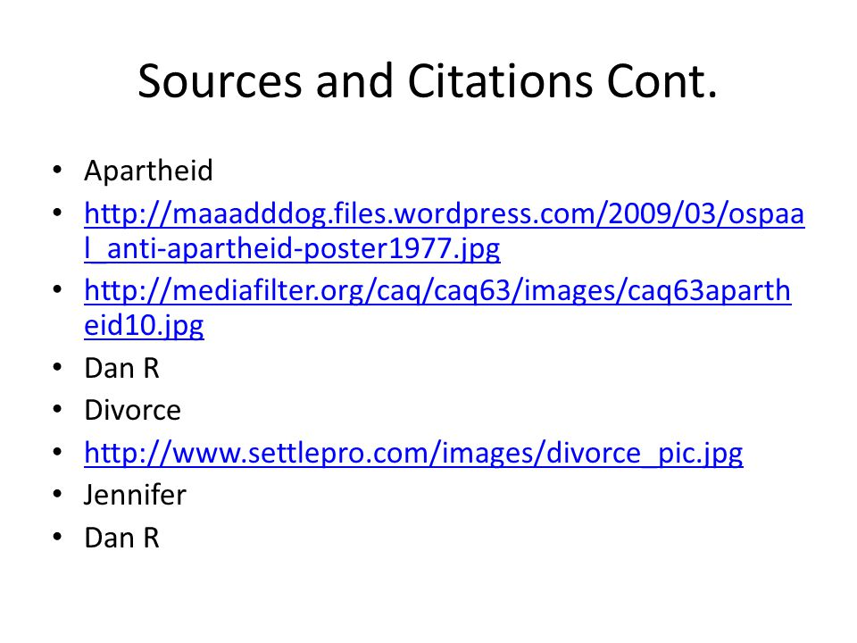 Sources and Citations Cont.