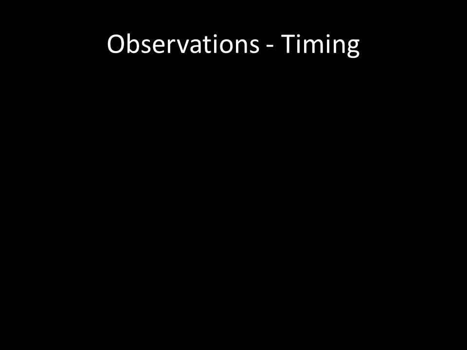 Observations - Timing