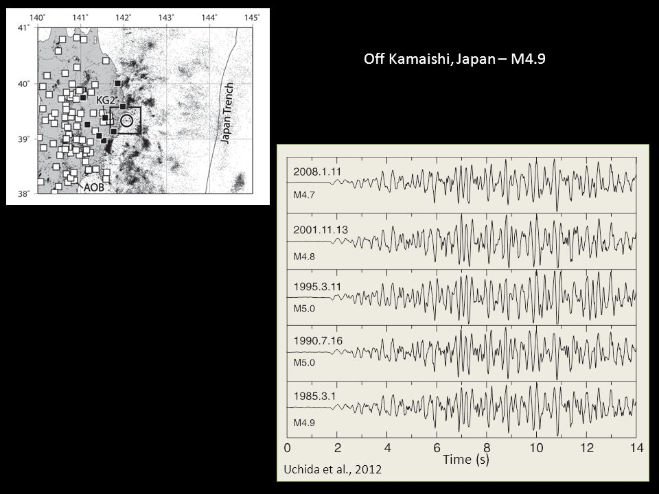 Uchida et al., 2012 Time (s) Off Kamaishi, Japan – M4.9