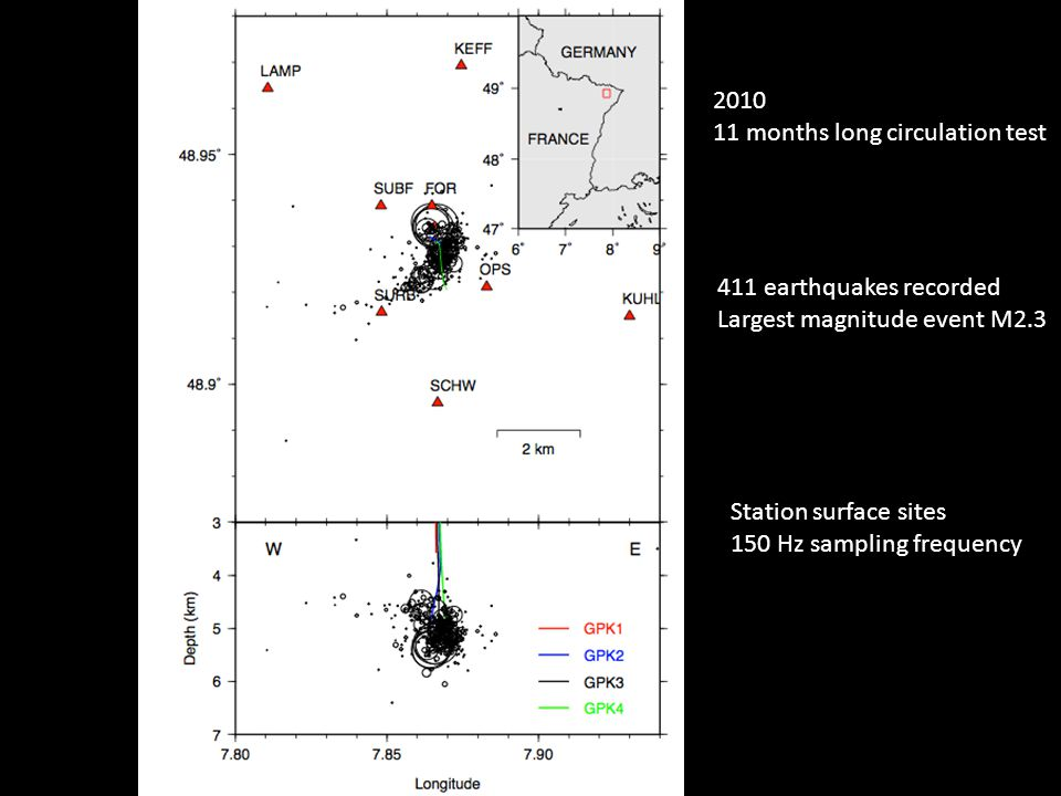 Station surface sites 150 Hz sampling frequency 2010 11 months long circulation test 411 earthquakes recorded Largest magnitude event M2.3