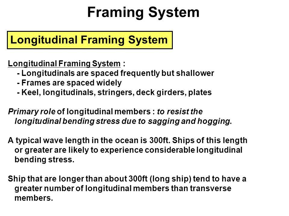 Longitudinal Framing System Longitudinal Framing System : - Longitudinals are spaced frequently but shallower - Frames are spaced widely - Keel, longi
