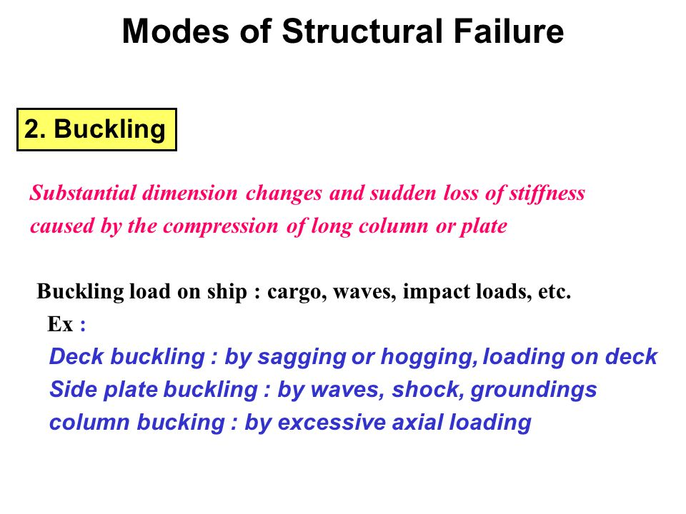2. Buckling Substantial dimension changes and sudden loss of stiffness caused by the compression of long column or plate Buckling load on ship : cargo