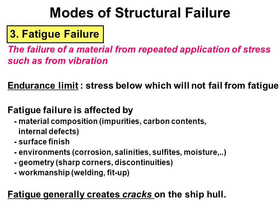 3. Fatigue Failure The failure of a material from repeated application of stress such as from vibration Endurance limit : stress below which will not