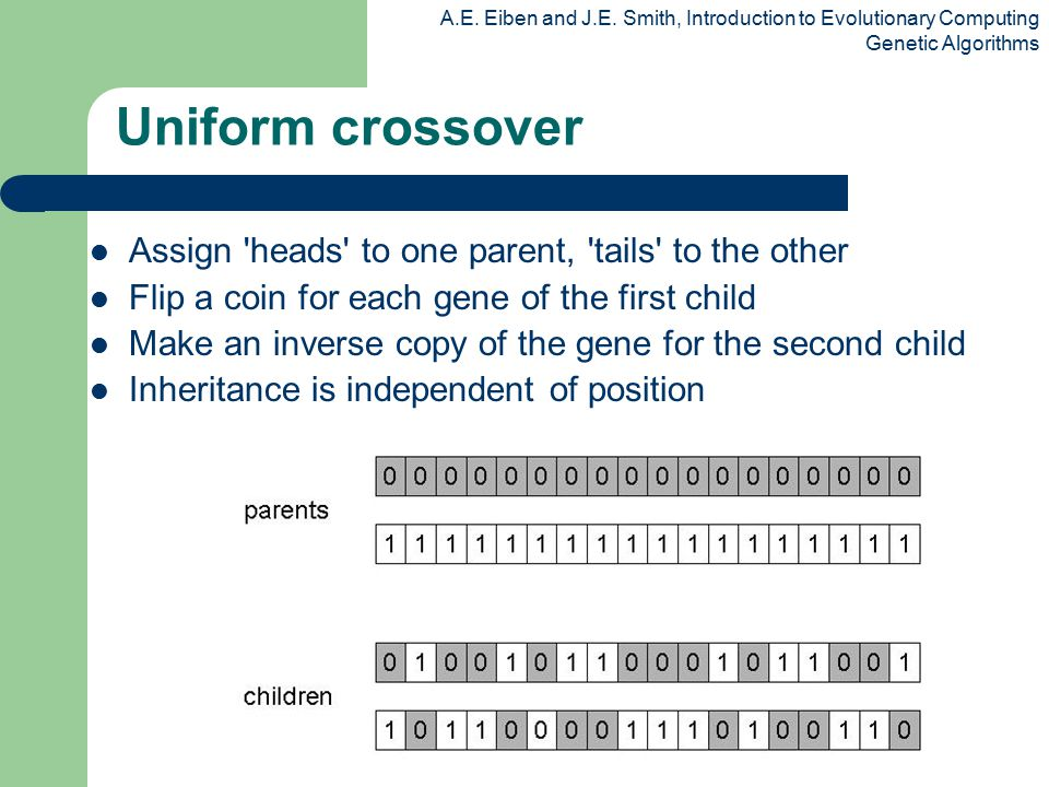 A.E. Eiben and J.E. Smith, Introduction to Evolutionary Computing Genetic Algorithms Uniform crossover Assign 'heads' to one parent, 'tails' to the ot