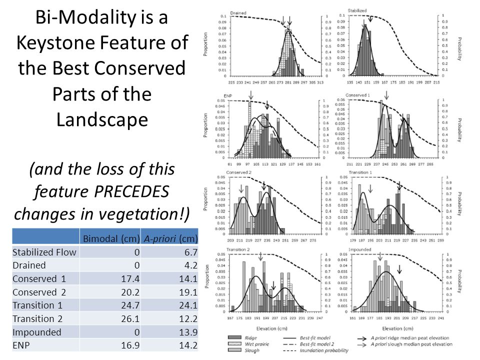 Bi-Modality is a Keystone Feature of the Best Conserved Parts of the Landscape (and the loss of this feature PRECEDES changes in vegetation!) Bimodal (cm)A-priori (cm) Stabilized Flow06.7 Drained04.2 Conserved 117.414.1 Conserved 220.219.1 Transition 124.724.1 Transition 226.112.2 Impounded013.9 ENP16.914.2