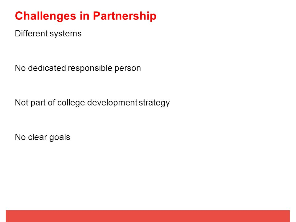 Challenges in Partnership Different systems No dedicated responsible person Not part of college development strategy No clear goals