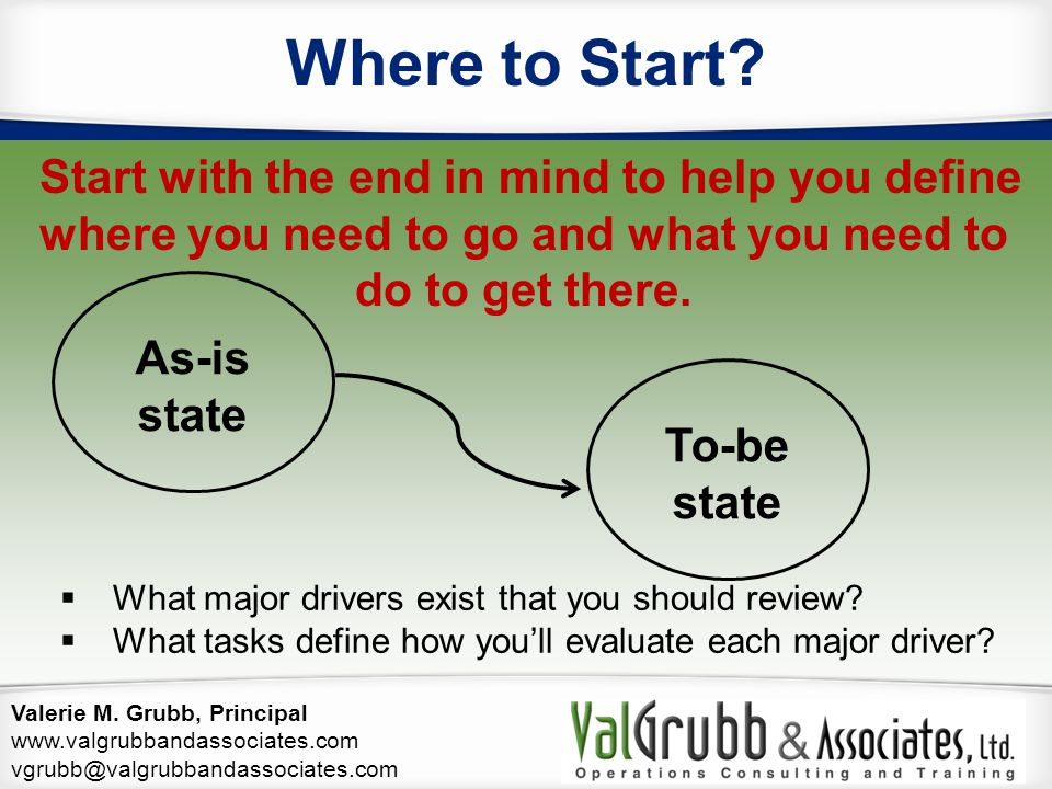 Valerie M. Grubb, Principal www.valgrubbandassociates.com vgrubb@valgrubbandassociates.com Start with the end in mind to help you define where you nee