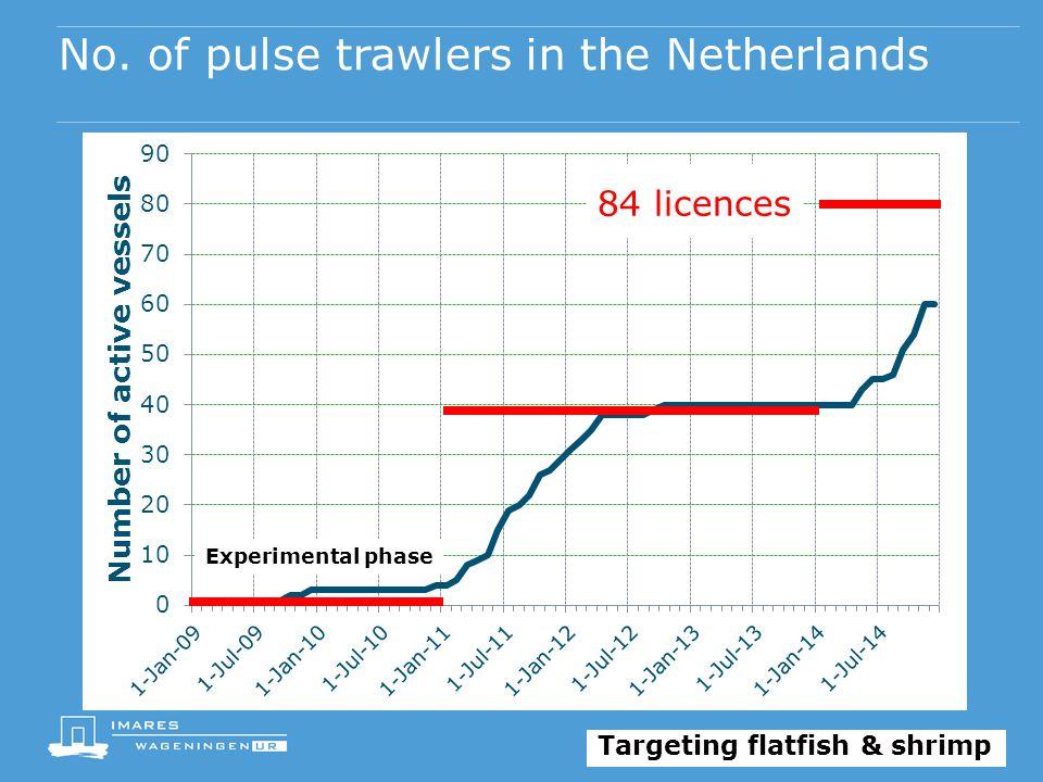No. of pulse trawlers in the Netherlands 84 licences Experimental phase Targeting flatfish & shrimp